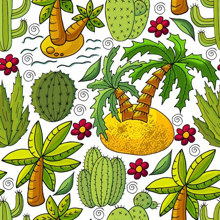 Seamless botanical illustration. Tropical pattern of different cacti, aloe, exotic animals. Palm trees, colorful flowers
