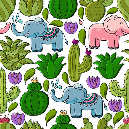 Seamless botanical illustration. Tropical pattern of different cacti, aloe, exotic animals. Elephants, colorful flowers