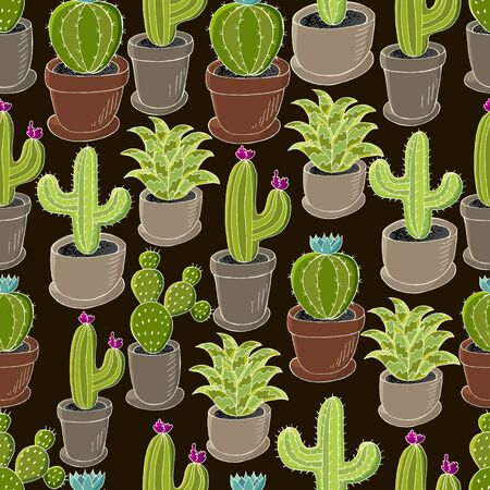 Tropical wallpaper in green colors. Trendy image is ideal for design creativity. Seamless pattern of different cacti. Cute vector background