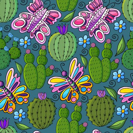 Seamless botanical illustration. Tropical pattern of different cacti, aloe, exotic animals. Butterflies, flowers leaves