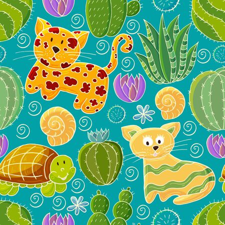 Seamless botanical illustration. Tropical pattern of various cacti, aloe. Leopard, cat, turtle colorful flowers Ilustrace