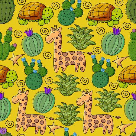 Seamless botanical illustration. Tropical pattern of different cacti, aloe, exotic animals. Giraffe, turtle flowers