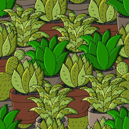 Vector seamless pattern of different cacti. Cute background from tropical plants. Exotic wallpaper in green colors. The trendy image is ideal for fabrics, wallpapers