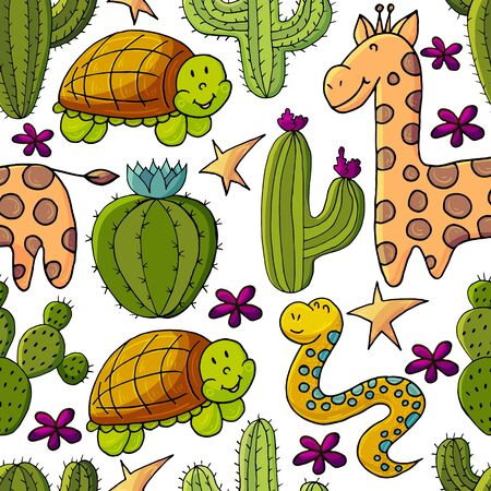 Seamless botanical illustration. Tropical pattern of different cacti, exotic animals. Turtle, snake, giraffe, colorful flowers