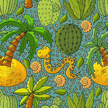 Seamless botanical illustration. Tropical pattern of different cacti, aloe, exotic animals. Shell, snake, palm trees flowers Ilustrace