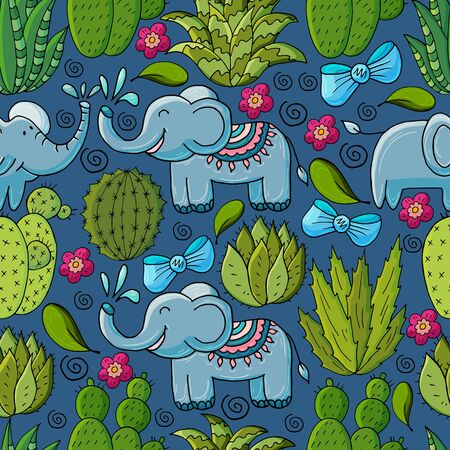 Seamless botanical illustration. Tropical pattern of various cacti, aloe. Elephants, bows, exotic plants