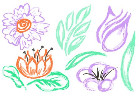 Cute childish drawing with wax crayons on a white background. Pastel chalk or pencil funny doodle style vector. Floral art elements, leaves, flowers, curls
