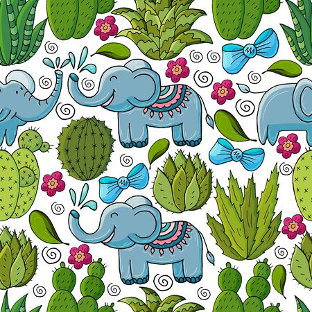 Seamless botanical illustration. Tropical pattern of various cacti, aloe. Elephants, bows, flowering exotic plants