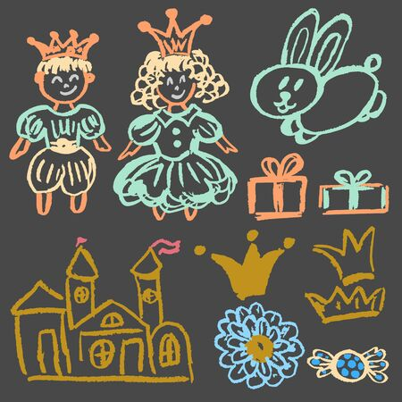 Cute childish drawing with colored chalk on a gray background. Pastel chalk or pencil funny doodle style vector. Castle, hare, king, queen