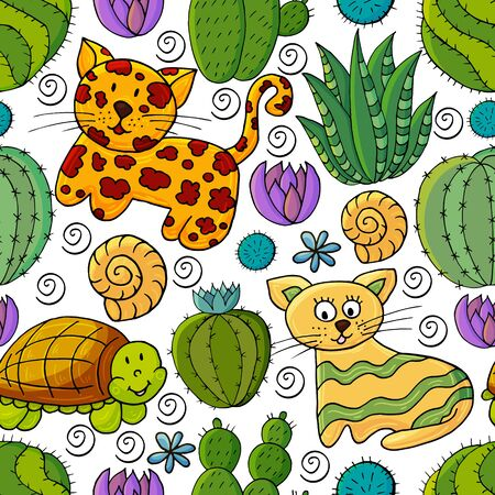 Seamless botanical illustration. Tropical pattern of different cacti, aloe, exotic animals. Turtle, leopard, cat, shells colorful flowers Ilustrace