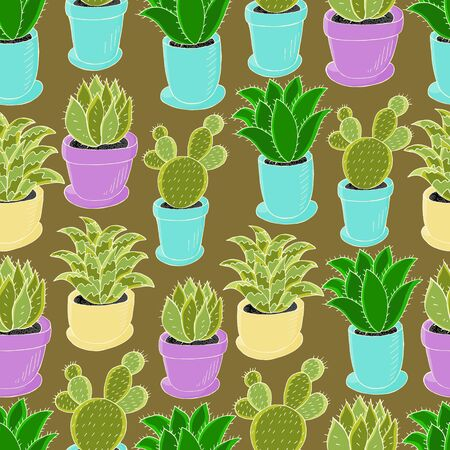 Tropical wallpaper in green colors. Trendy Seamless pattern of different cacti. Cute vector background