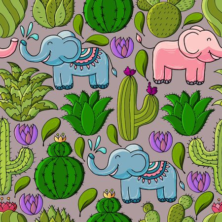 Seamless botanical illustration. Tropical pattern of different cacti, aloe, exotic animals. Elephants, flowers Ilustrace
