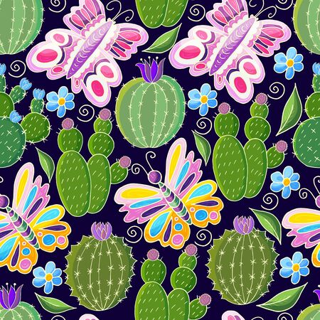 Tropical pattern of various cacti, aloe. Seamless botanical illustration. Butterfly, exotic plants
