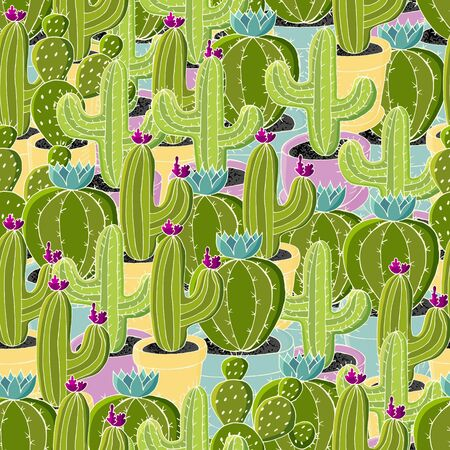 Seamless pattern of different cacti. Cute vector background of flowerpots. Tendy image is ideal for fabrics, backgrounds, design creativity. Tropical wallpaper in green colors Ilustrace