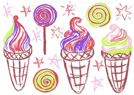 Cute childish drawing with wax crayons on a white background. Pastel chalk or pencil funny doodle style vector. Set of summer cold sweets. Ice cream, popsicle, waffle, candy