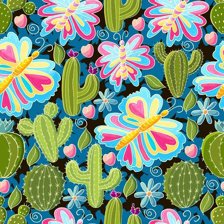 Tropical pattern of various cacti, aloe. Seamless botanical illustration. Butterfly, flowering exotic plants Ilustrace