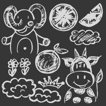 Cute childish drawing white chalk on blackboard. Pastel chalk or pencil funny doodle style vector. Elephant, cow, oranges, clouds Ilustrace