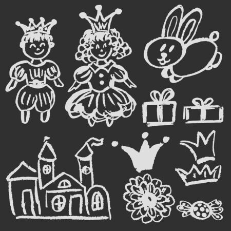Cute childish drawing with white chalk on blackboard. Pastel chalk or pencil funny doodle style vector. Castle, hare, king, queen Ilustrace