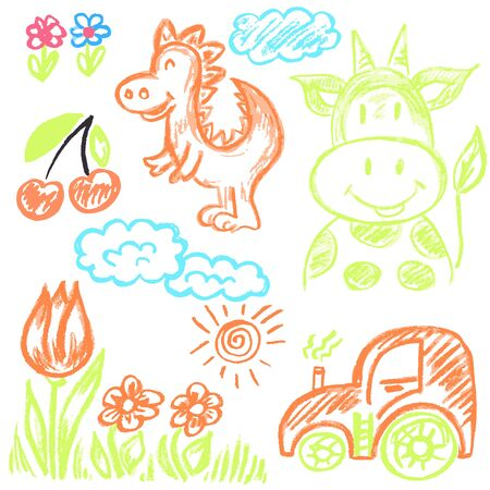 Cute childish drawing with wax crayons on a white background. Pastel chalk or pencil funny doodle style vector. Cow, dinosaur, flowers, tractor Vektorové ilustrace