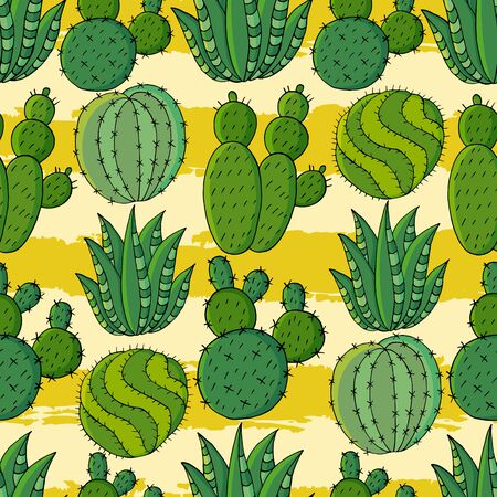 Seamless pattern of different cacti. Cute vector background of exotic plants. Tropical wallpaper in green colors. The trendy image is ideal for design