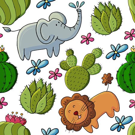 Seamless botanical illustration. Tropical pattern of different cacti, exotic animals. Lion, elephant, colorful flowers