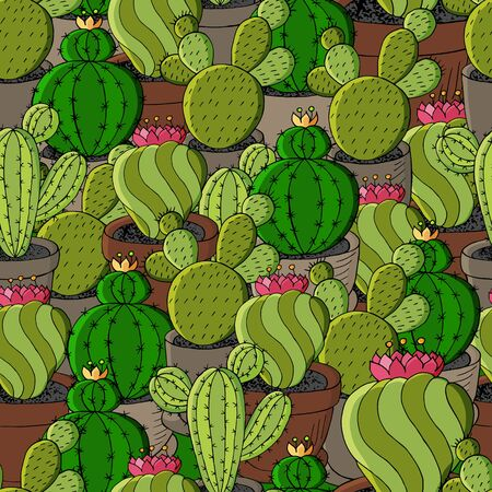 Vector seamless pattern of different cacti. Cute background from tropical plants. Exotic wallpaper in green colors. The trendy image is ideal for fabrics