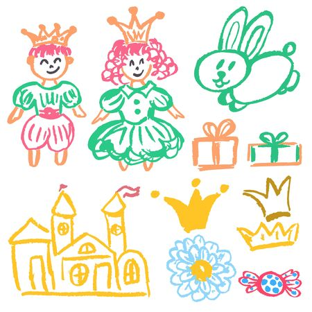Cute childish drawing with wax crayons on a white background. Pastel chalk or pencil funny doodle style vector. Castle, hare, king, queen