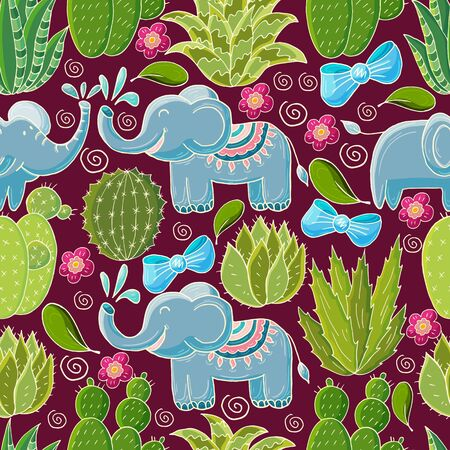 Seamless botanical illustration. Tropical pattern of different cacti, scarlet. Elephants, bows, flowering exotic plants