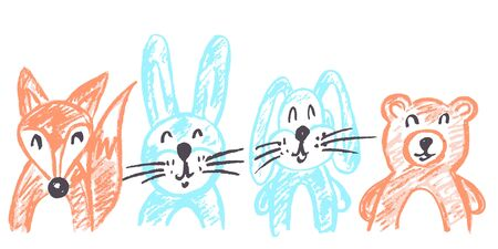 Cute childish drawing with wax crayons on a white background. Pastel chalk or pencil funny doodle style vector. Set of beautiful animals. Squirrel, hare, rabbit, bear