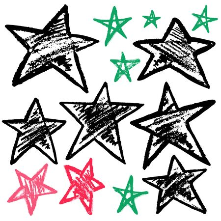 Cute childish drawing with wax crayons on a white background. Pastel chalk or pencil funny doodle style vector. Set of doodle stars Vektorové ilustrace
