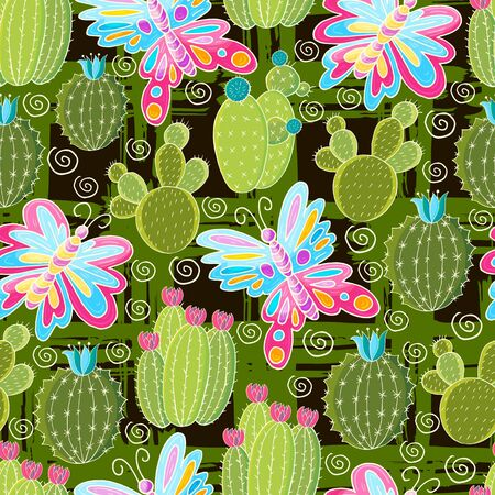 Seamless botanical illustration. Tropical pattern of various cacti, aloe. Butterfly, exotic plants