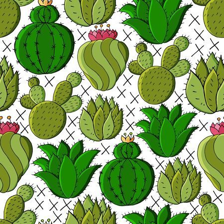 Vector seamless pattern of different cacti. Cute background from tropical plants. Exotic wallpaper in green colors. Trending image ideal for fabrics, wallpaper Ilustrace
