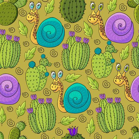 Seamless botanical illustration. Tropical pattern of different cacti, aloe, exotic animals. Snails, flowers Ilustrace