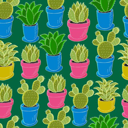 Tropical wallpaper in green colors. Trendy image is ideal for design. Seamless pattern of different cacti. Cute vector background Ilustrace