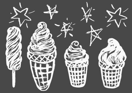 Cute childish drawing with white chalk on blackboard. Pastel chalk or pencil funny doodle style vector. Set of summer cold sweets. Ice cream, popsicle, waffle Ilustrace