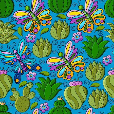 Seamless botanical illustration. Tropical pattern of different cacti, aloe, exotic animals. Butterflies, flowers