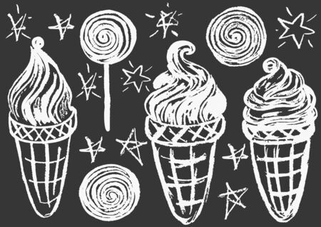 Cute childish drawing with white chalk on blackboard. Pastel chalk or pencil funny doodle style vector. Set of summer cold sweets. Ice cream, popsicle, waffle, candy
