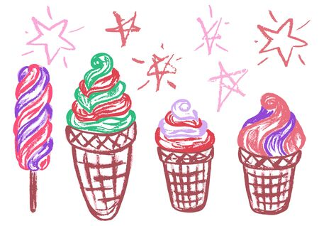 Cute childish drawing with wax crayons on a white background. Pastel chalk or pencil funny doodle style vector. Set of summer cold sweets. Ice cream, popsicle, waffle