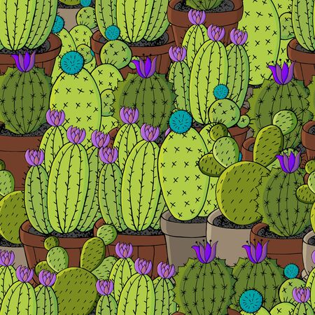 Seamless pattern of different cacti. Cute vector background of exotic plants. Tropical wallpaper in green colors. Trendy image is ideal for design