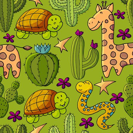Seamless botanical illustration. Tropical pattern of different cacti, exotic animals. Turtle, snake, giraffe flowers