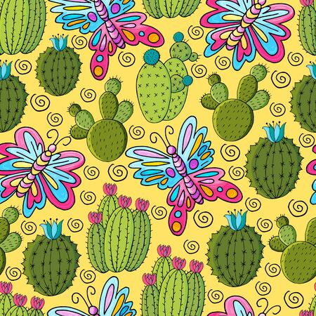 Seamless botanical illustration. Tropical pattern of various cacti, aloe. Butterfly, flower, exotic plants Ilustrace