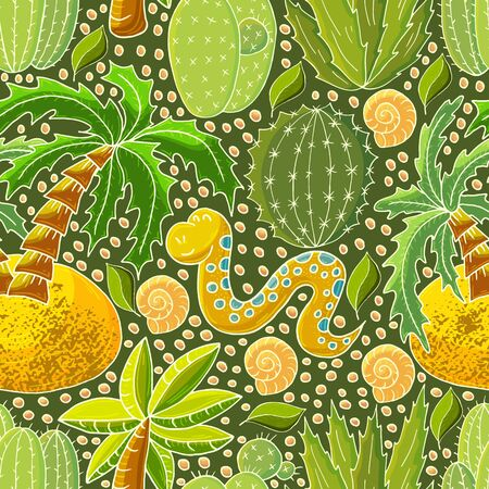 Seamless botanical illustration. Tropical pattern of various cacti, aloe. Palm trees, shells, flowering exotic plants, snake