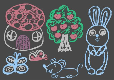 Cute childish drawing with colored chalk on a gray background. Pastel chalk or pencil funny doodle style vector. Bunny, house, apple tree, mouse, butterflies