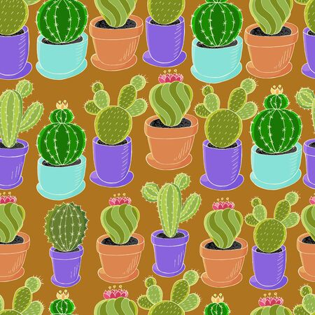 Tropical wallpaper in green colors. Trendy image for design. Seamless pattern of different cacti. Cute vector background