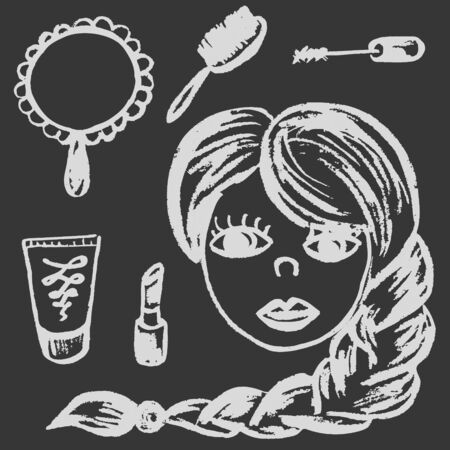 Cute childish drawing with white chalk on blackboard. Pastel chalk or pencil funny doodle style vector. Female beauty and cosmetics, mirror, comb, mascara, lipstick