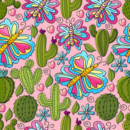 Seamless botanical illustration. Tropical pattern of different cacti, aloe, exotic animals. Butterflies, flowers hearts