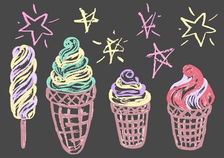 Cute childish drawing with colored chalk on a gray background. Pastel chalk or pencil funny doodle style vector. Set of summer cold sweets. Ice cream, popsicle, waffle