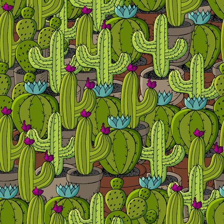 Vector seamless pattern of different cacti. Cute background from tropical plants. Exotic wallpaper in green colors. The trendy image Ilustrace