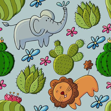 Seamless botanical illustration. Tropical pattern of different cacti, exotic animals. Lion, elephant, flowers