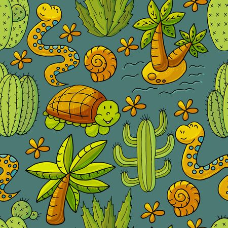 Seamless botanical illustration. Tropical pattern of different cacti, exotic animals. Turtle, snake, palm tree, shells flowers